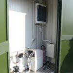 Dettaglio vano tecnico sheltere prefabbricato attrezzato per lavastoviglie